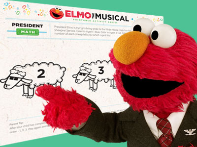 Elmo the Musical President math activity